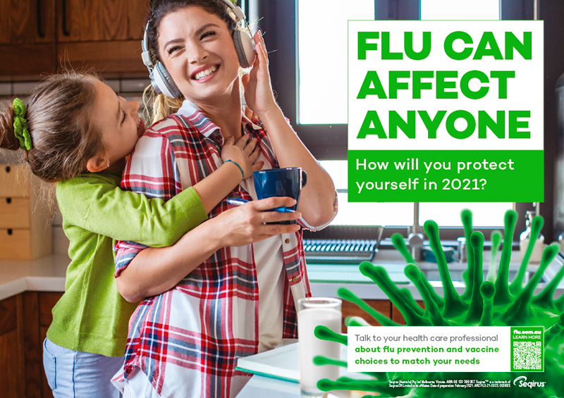 Flu can affect anyone poster